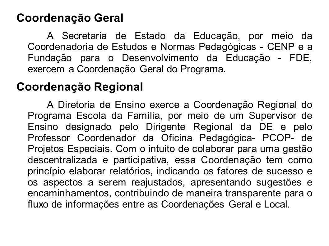 Coordenação Geral Coordenação Regional