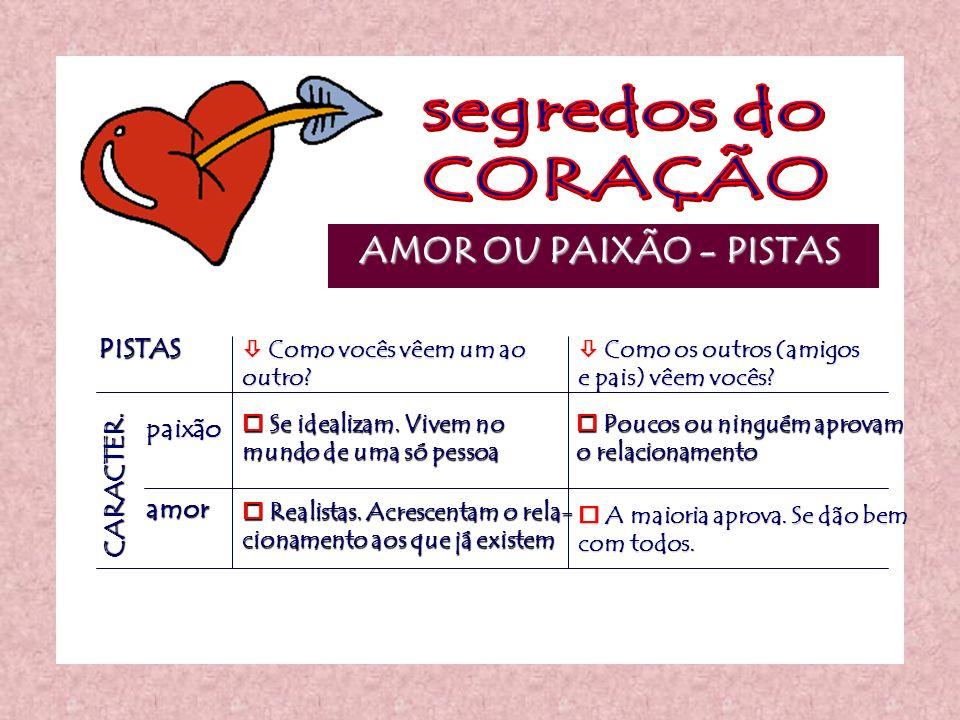 segredos do CORAÇÃO AMOR OU PAIXÃO - PISTAS PISTAS paixão CARACTER.