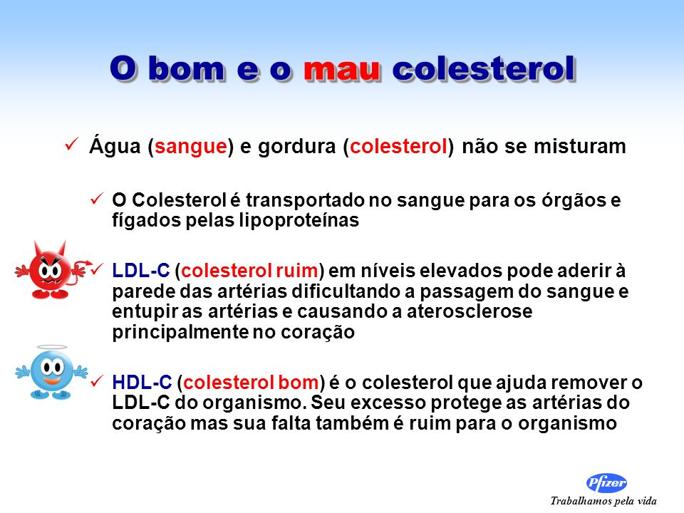 O bom e o mau colesterol Água (sangue) e gordura (colesterol) não se misturam.