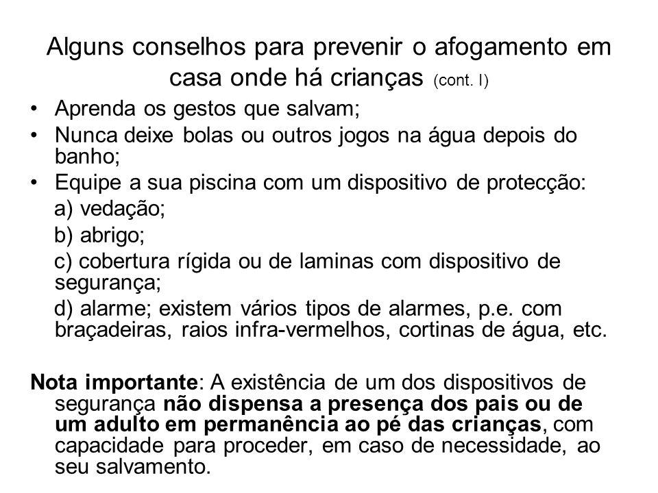 Alguns conselhos para prevenir o afogamento em casa onde há crianças (cont. I)