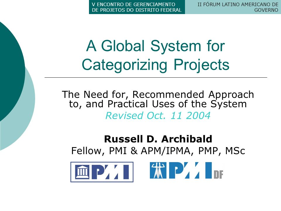 A Global System for Categorizing Projects