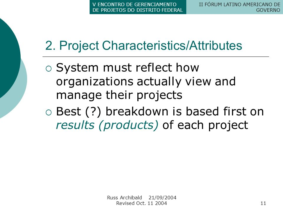 2. Project Characteristics/Attributes
