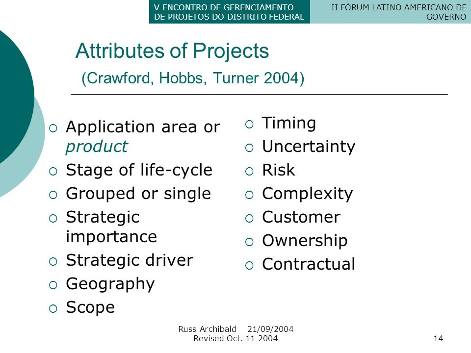 Attributes of Projects (Crawford, Hobbs, Turner 2004)