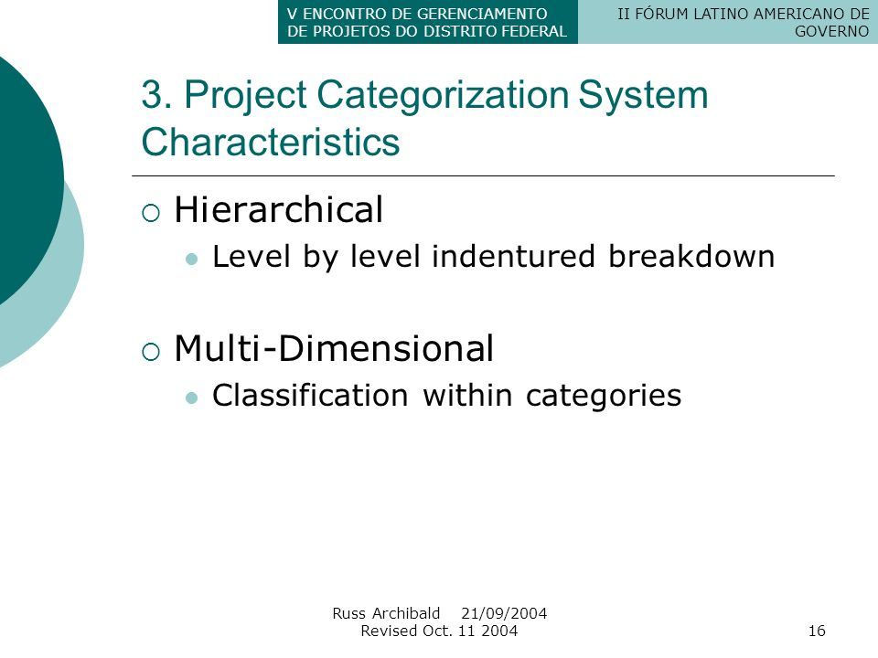3. Project Categorization System Characteristics