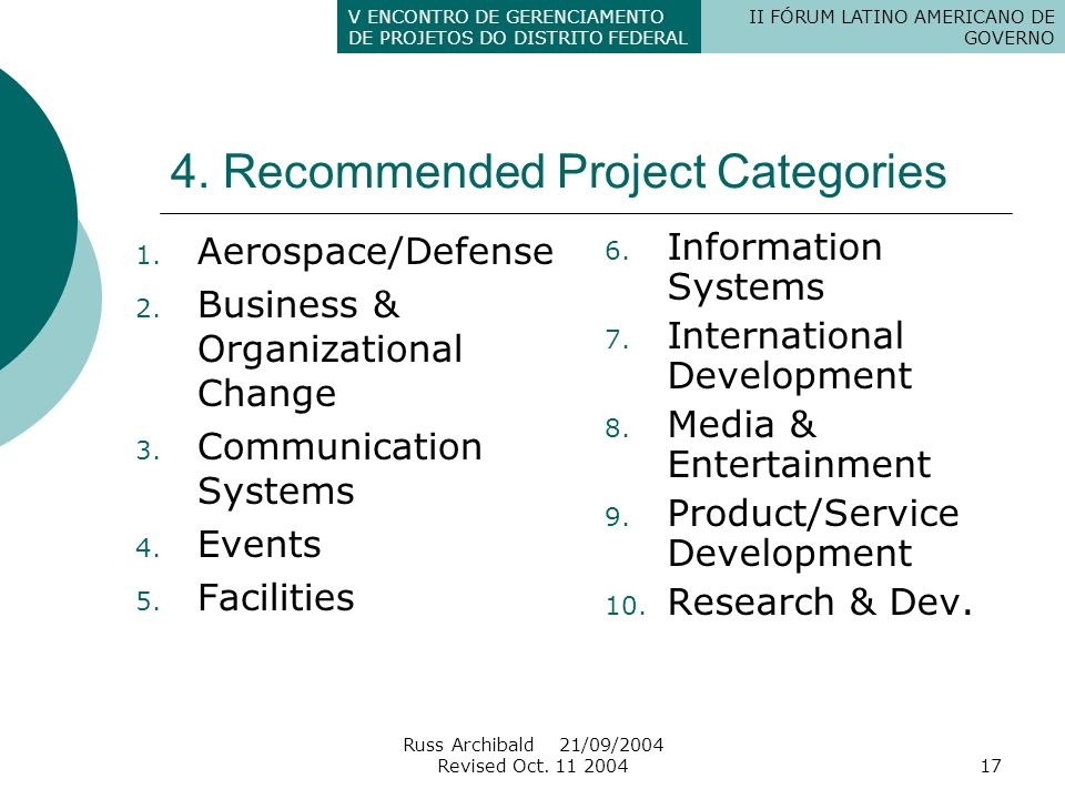 4. Recommended Project Categories