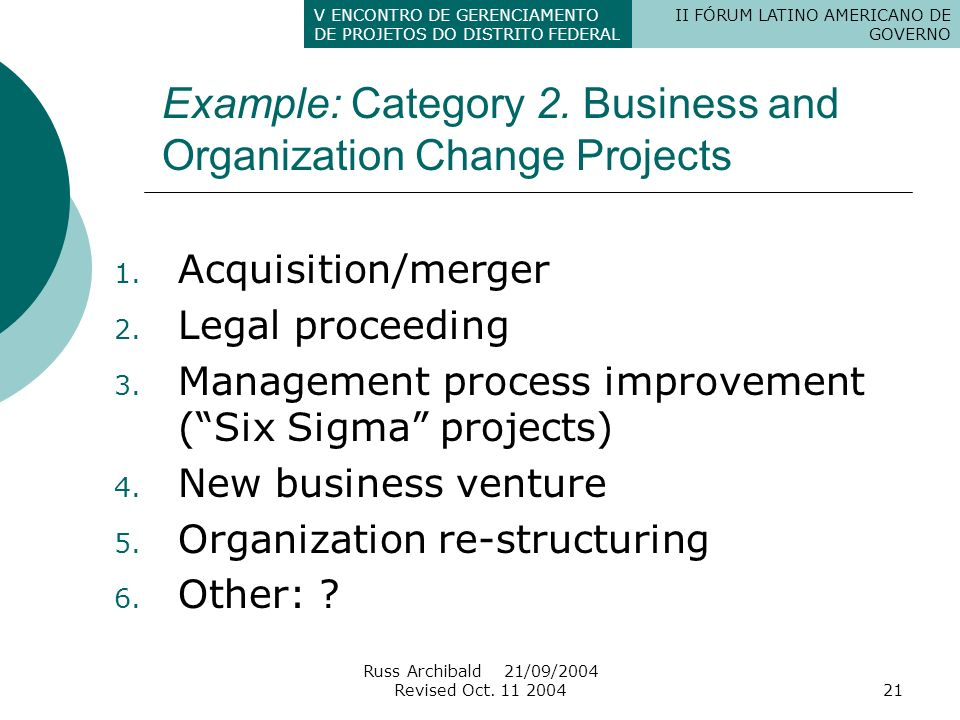 Example: Category 2. Business and Organization Change Projects