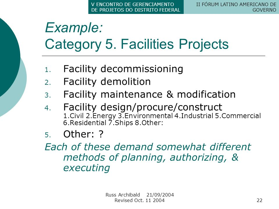 Example: Category 5. Facilities Projects