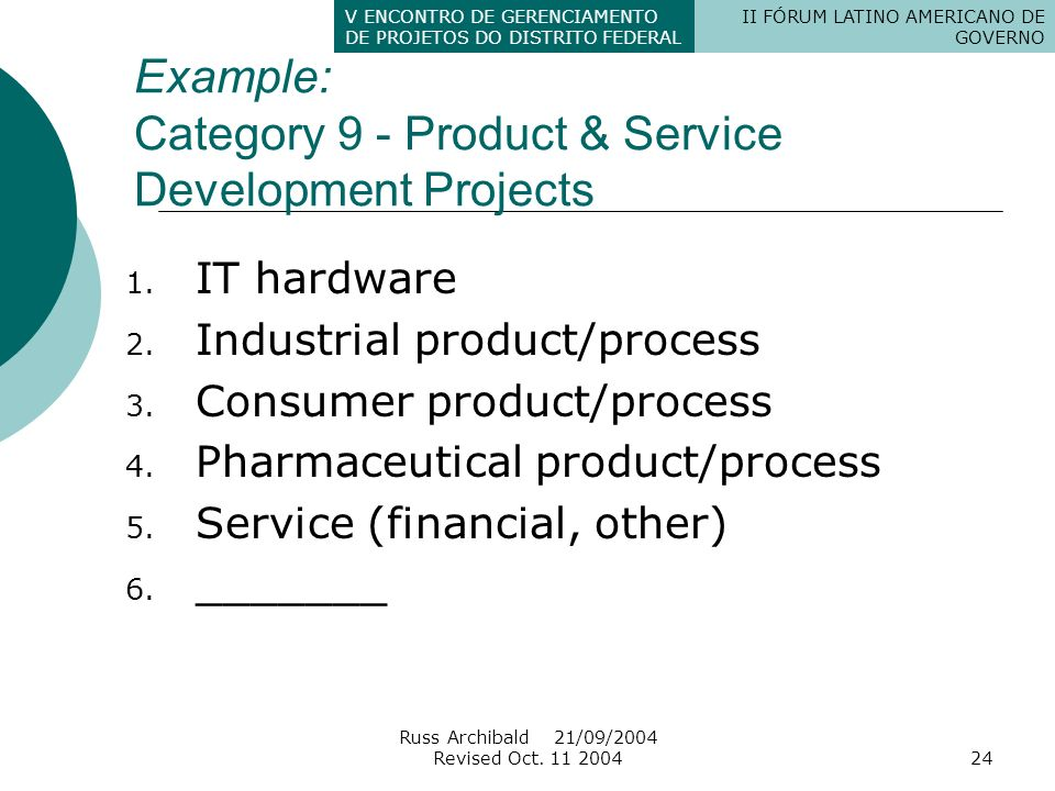 Example: Category 9 - Product & Service Development Projects