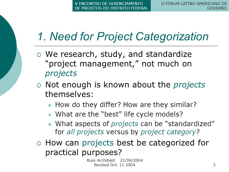 1. Need for Project Categorization