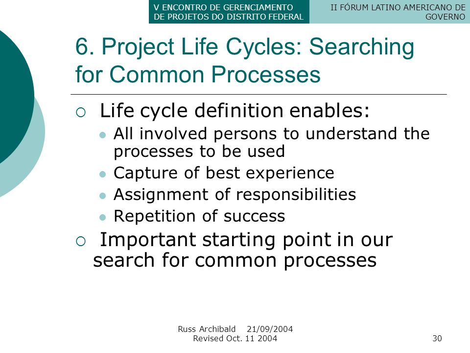 6. Project Life Cycles: Searching for Common Processes