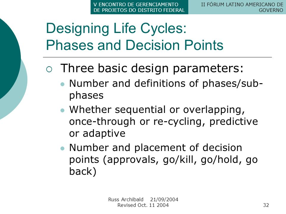 Designing Life Cycles: Phases and Decision Points