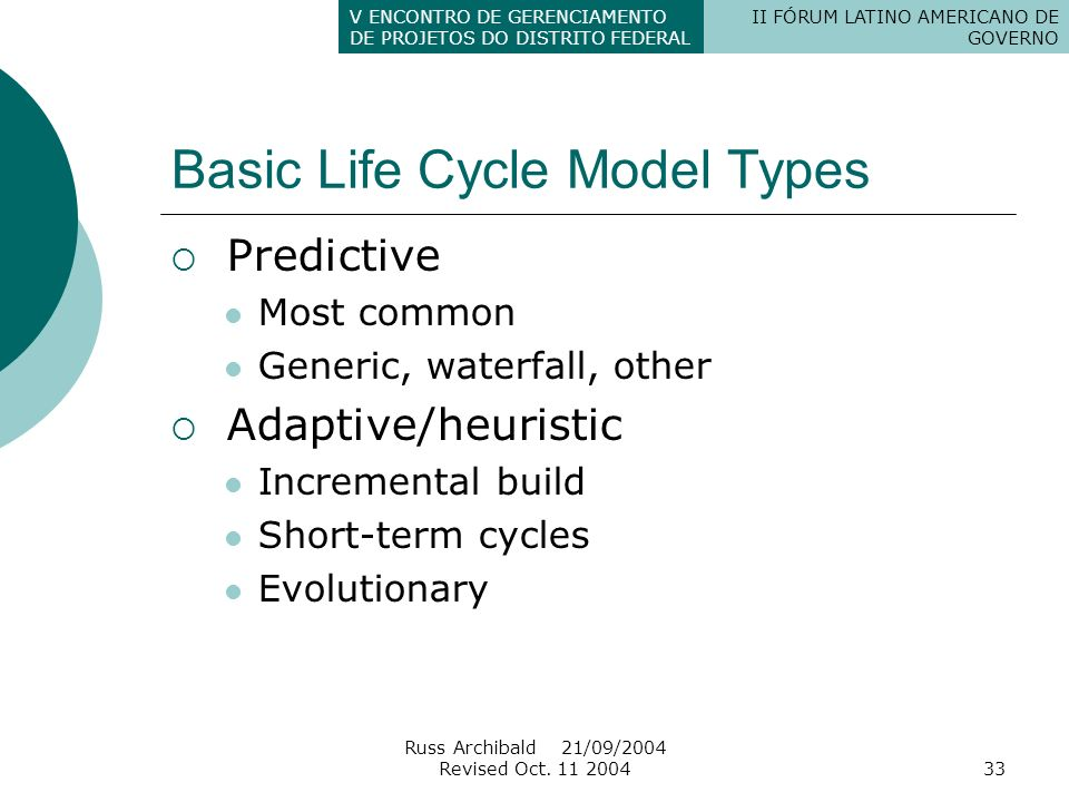 Basic Life Cycle Model Types