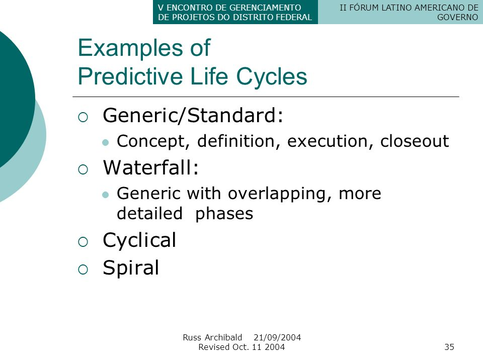 Examples of Predictive Life Cycles