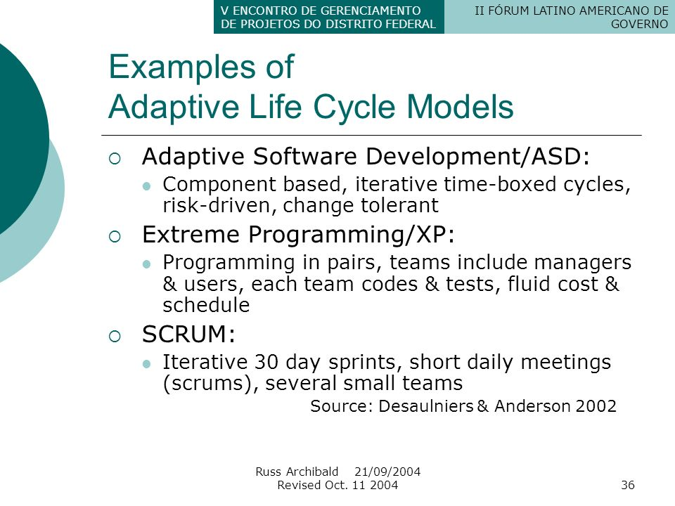 Examples of Adaptive Life Cycle Models