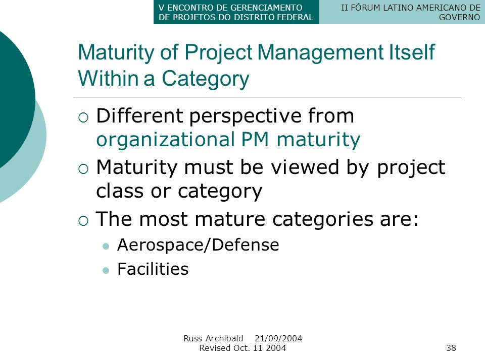 Maturity of Project Management Itself Within a Category