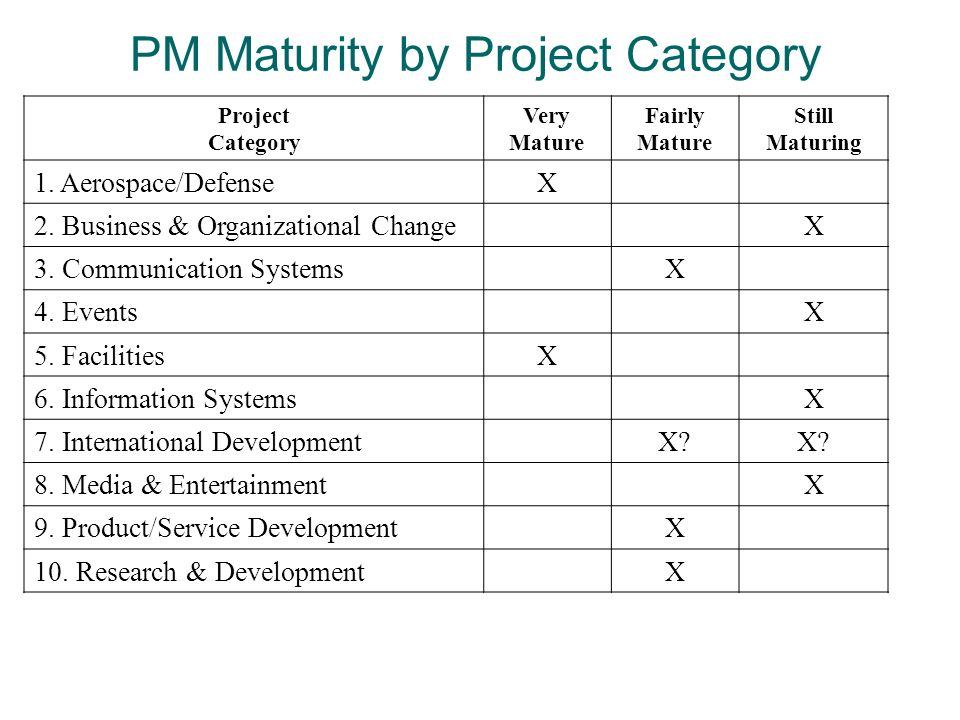 PM Maturity by Project Category