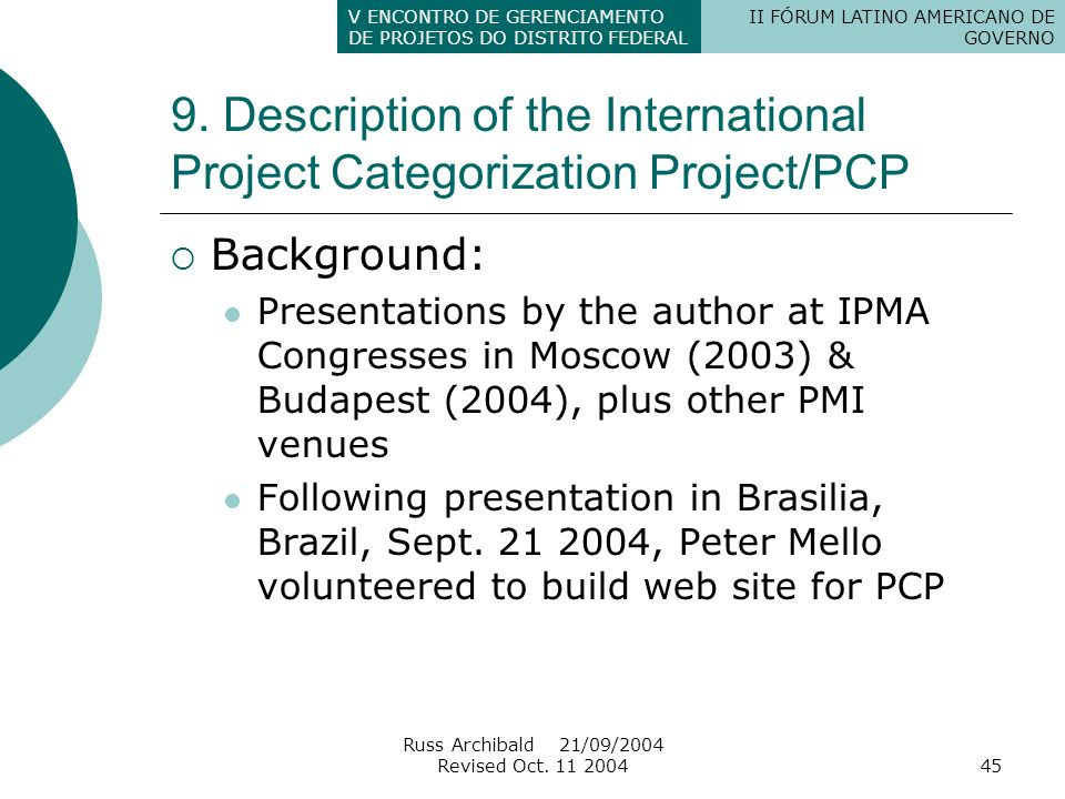 9. Description of the International Project Categorization Project/PCP