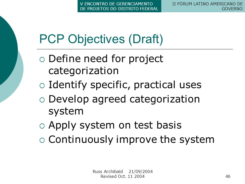 PCP Objectives (Draft)