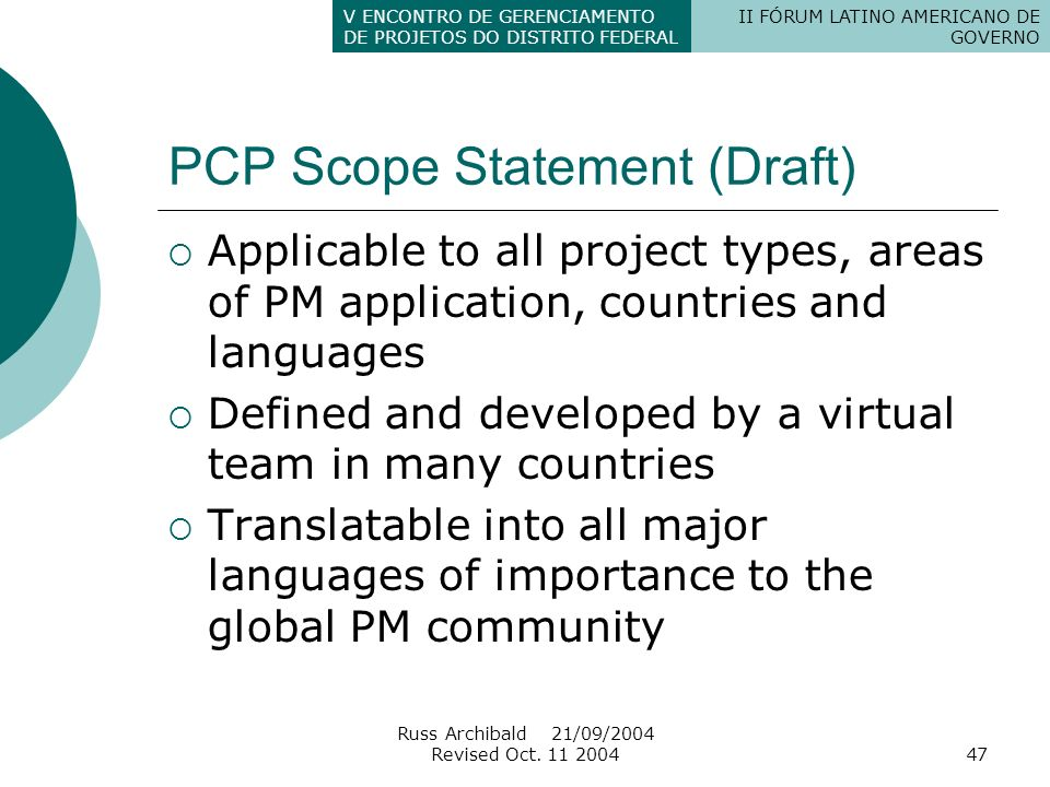 PCP Scope Statement (Draft)