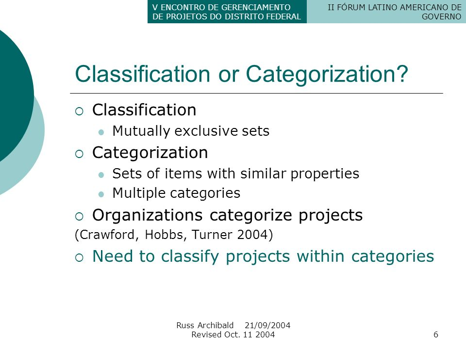 Classification or Categorization