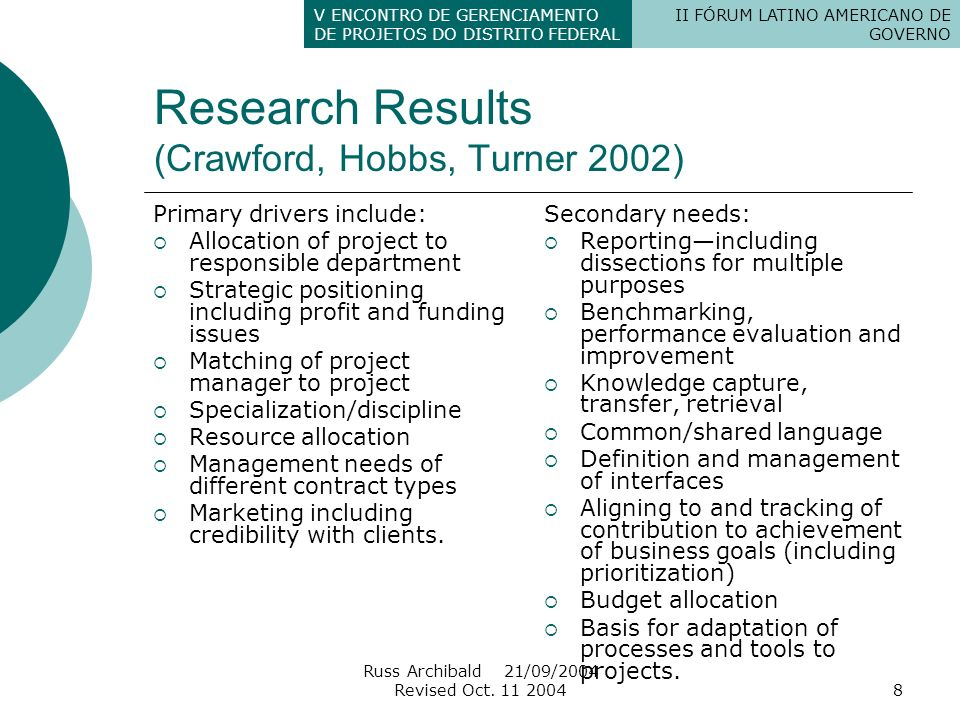 Research Results (Crawford, Hobbs, Turner 2002)