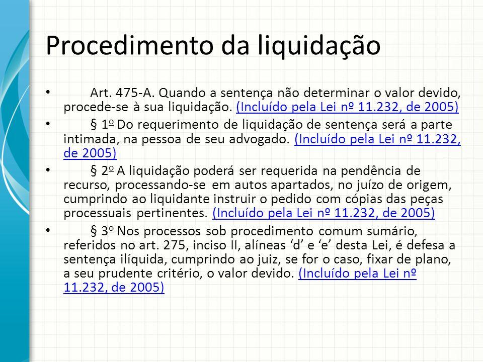 Procedimento da liquidação