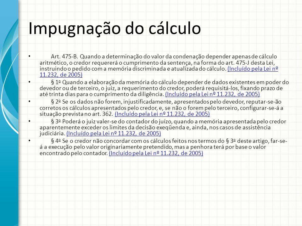 Impugnação do cálculo