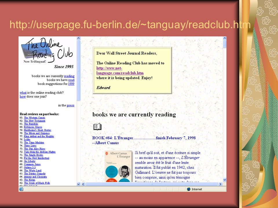 http://userpage.fu-berlin.de/~tanguay/readclub.htm