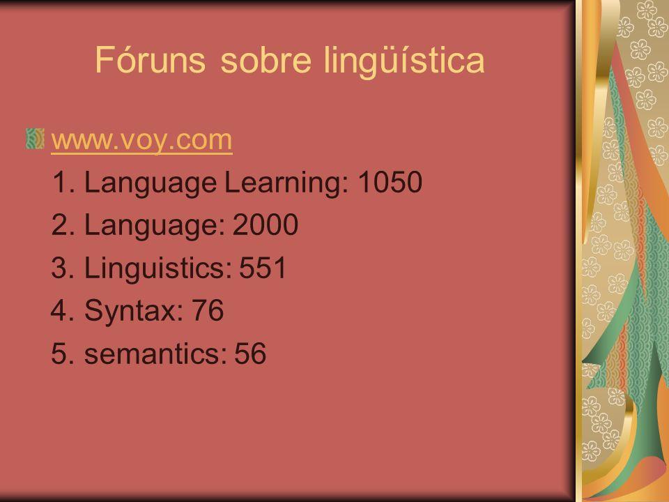 Fóruns sobre lingüística
