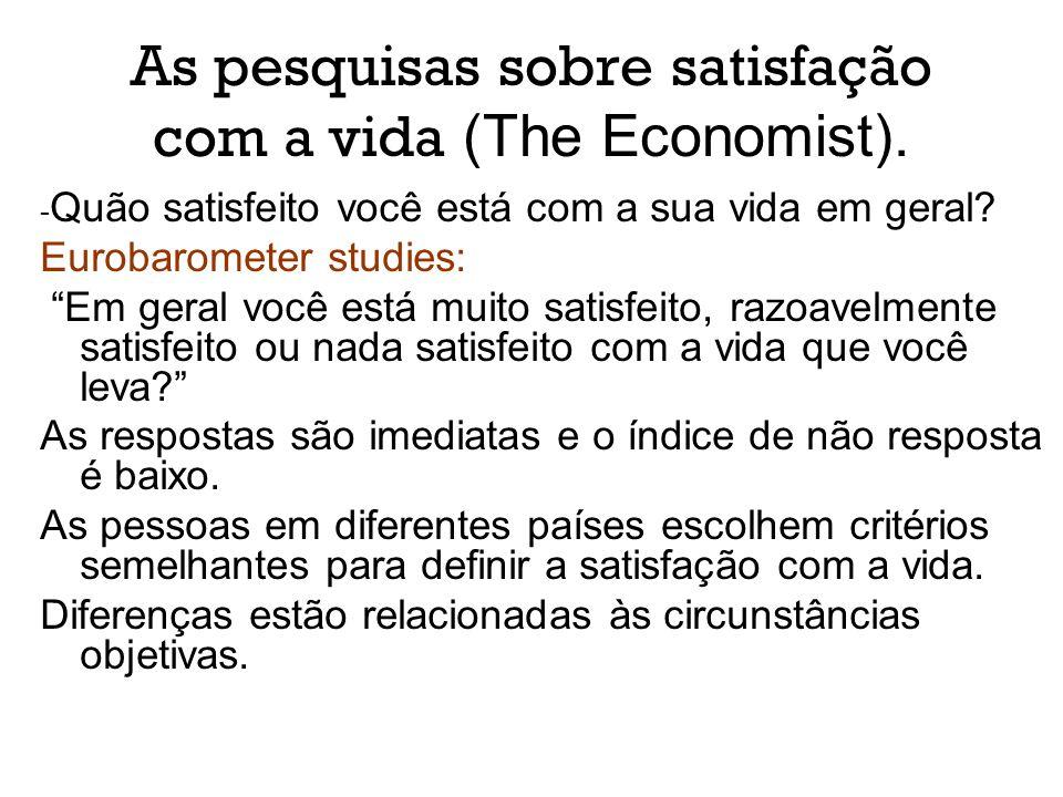 As pesquisas sobre satisfação com a vida (The Economist).