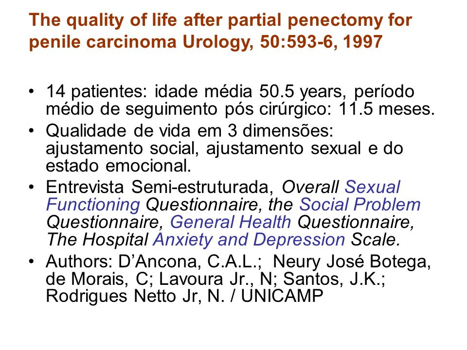 The quality of life after partial penectomy for penile carcinoma Urology, 50:593-6, 1997