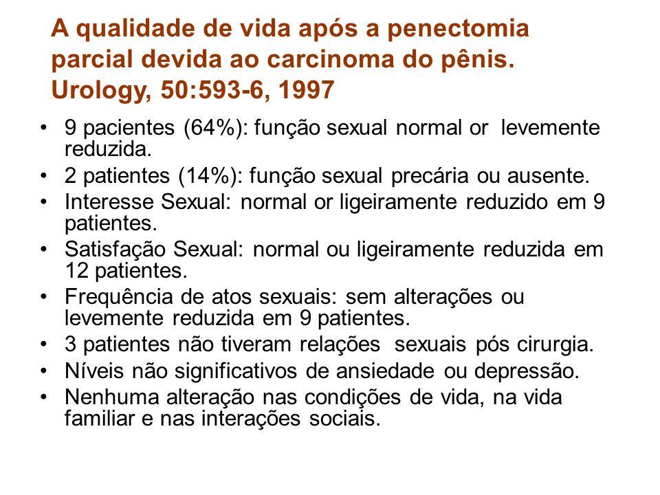 A qualidade de vida após a penectomia parcial devida ao carcinoma do pênis. Urology, 50:593-6, 1997