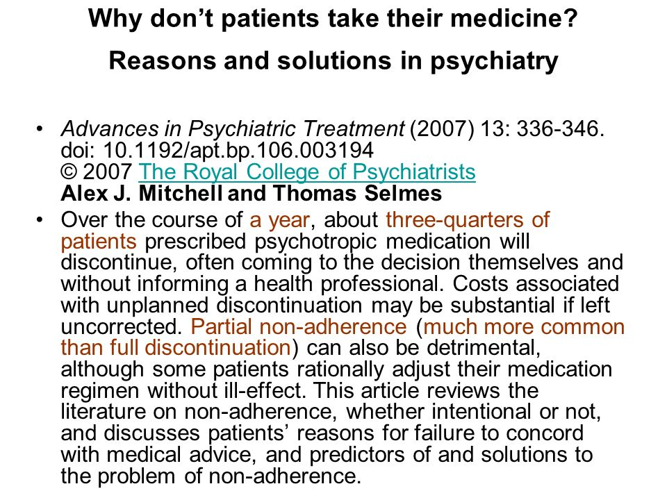 Why don't patients take their medicine