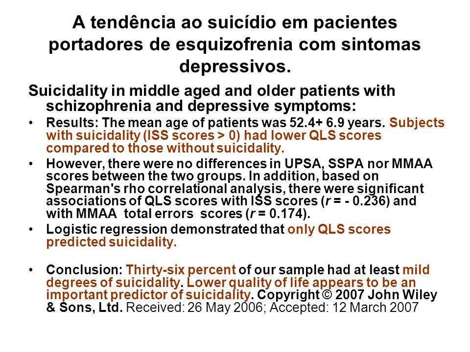 A tendência ao suicídio em pacientes portadores de esquizofrenia com sintomas depressivos.