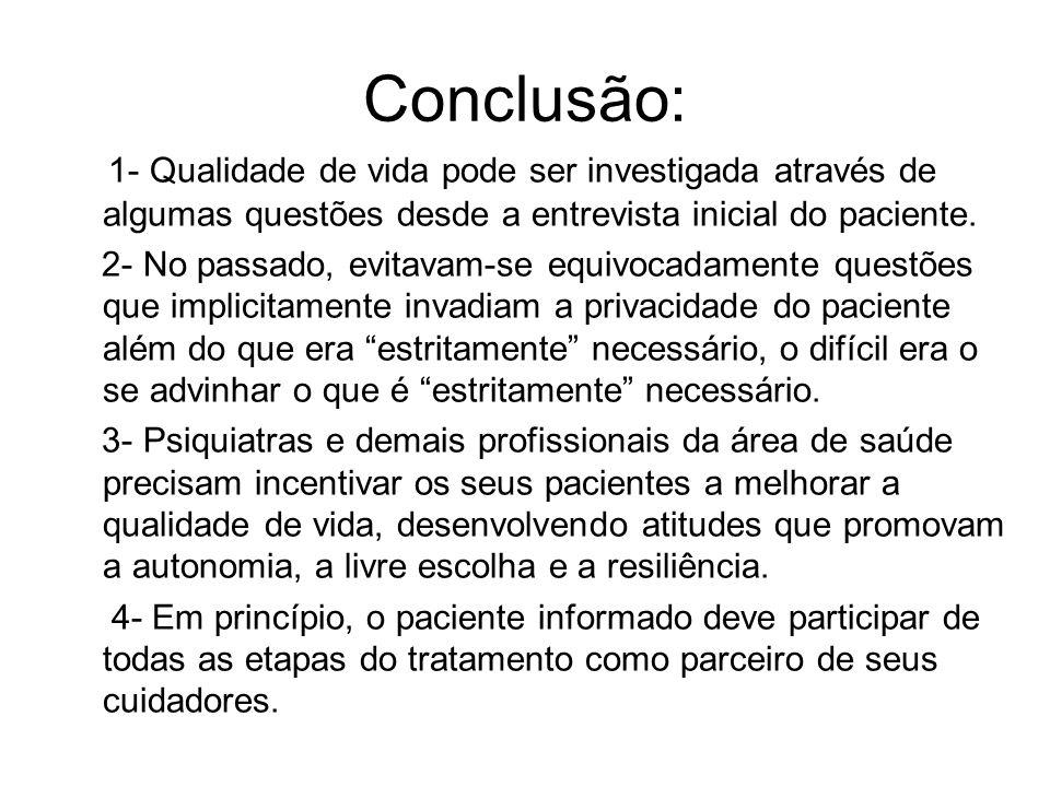 Conclusão: 1- Qualidade de vida pode ser investigada através de algumas questões desde a entrevista inicial do paciente.