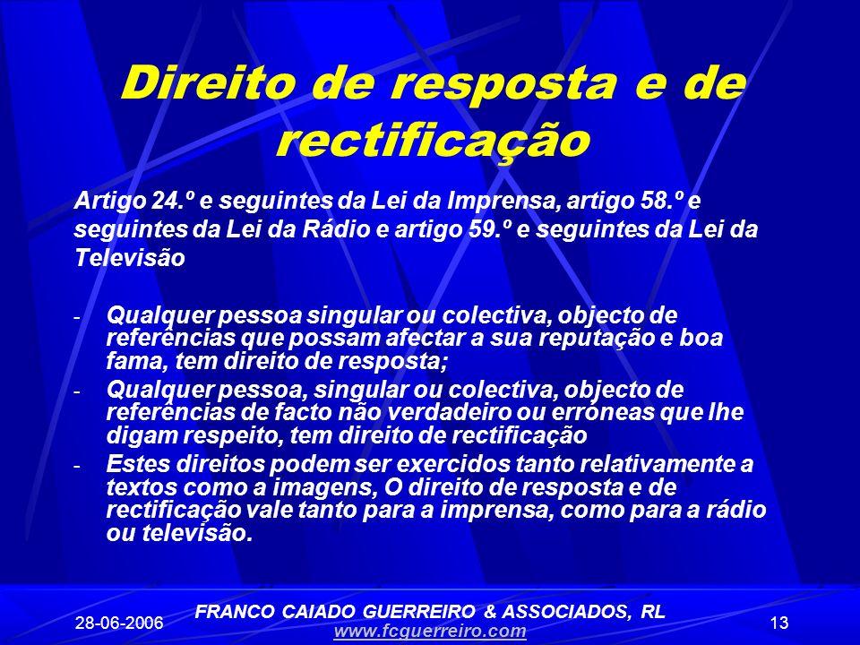 Direito de resposta e de rectificação