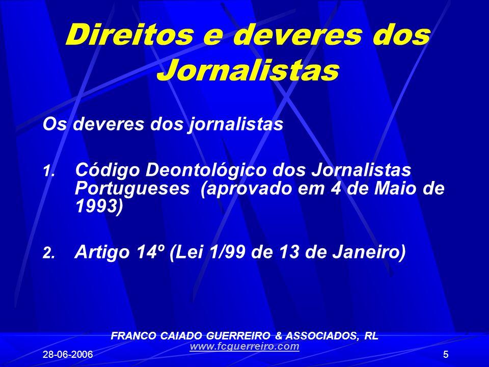 Direitos e deveres dos Jornalistas