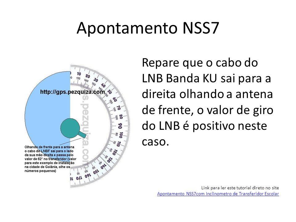 Apontamento NSS7Repare que o cabo do LNB Banda KU sai para a direita olhando a antena de frente, o valor de giro do LNB é positivo neste caso.