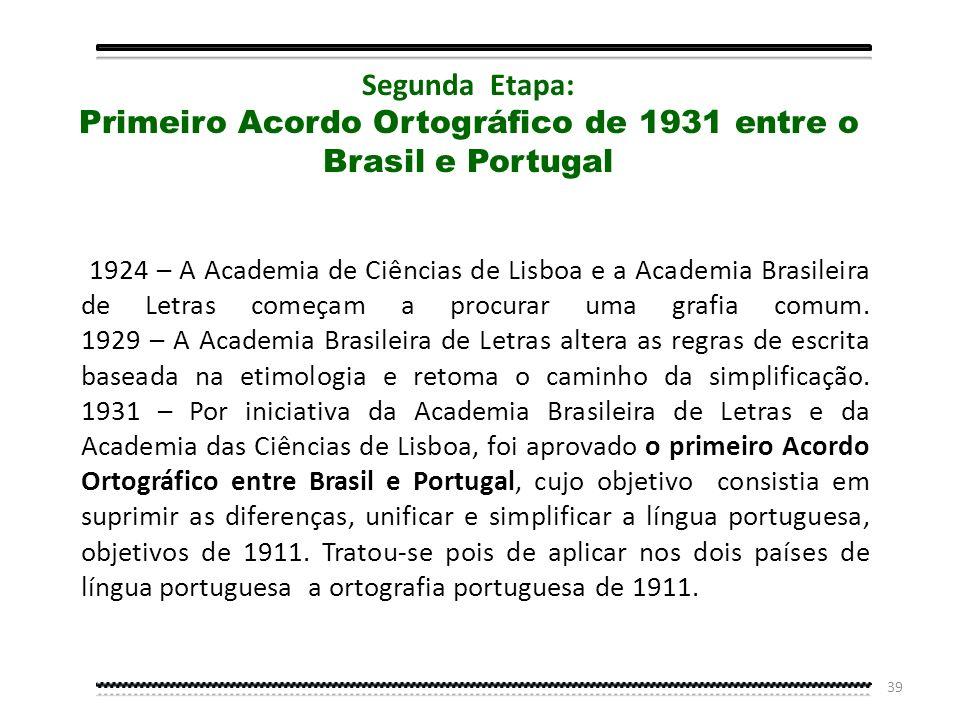 Primeiro Acordo Ortográfico de 1931 entre o Brasil e Portugal