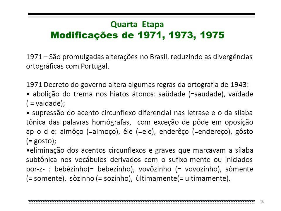 Quarta Etapa Modificações de 1971, 1973, 1975