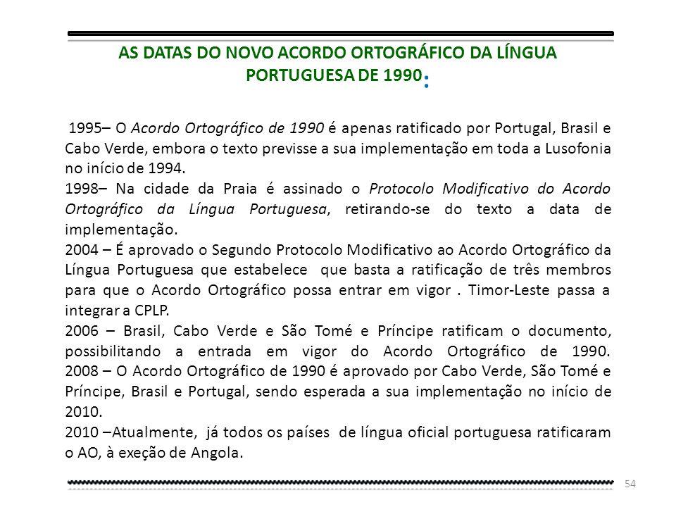 AS DATAS DO NOVO ACORDO ORTOGRÁFICO DA LÍNGUA PORTUGUESA DE 1990: