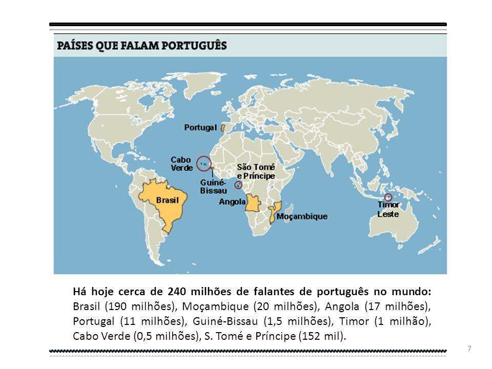 Há hoje cerca de 240 milhões de falantes de português no mundo: Brasil (190 milhões), Moçambique (20 milhões), Angola (17 milhões), Portugal (11 milhões), Guiné-Bissau (1,5 milhões), Timor (1 milhão), Cabo Verde (0,5 milhões), S.