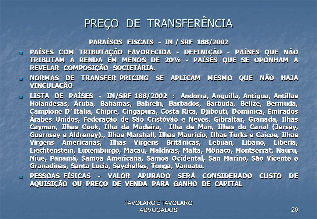 PREÇO DE TRANSFERÊNCIA