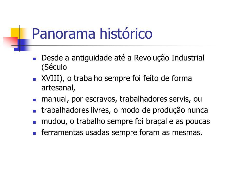Panorama histórico Desde a antiguidade até a Revolução Industrial (Século. XVIII), o trabalho sempre foi feito de forma artesanal,