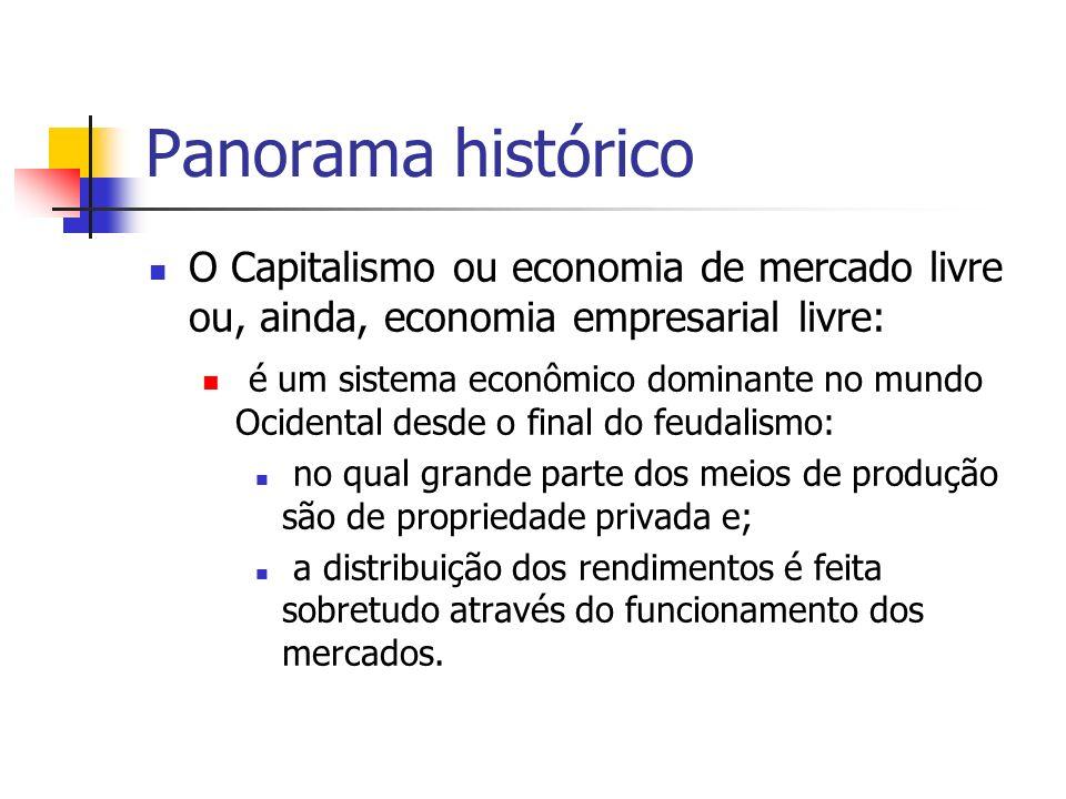 Panorama histórico O Capitalismo ou economia de mercado livre ou, ainda, economia empresarial livre:
