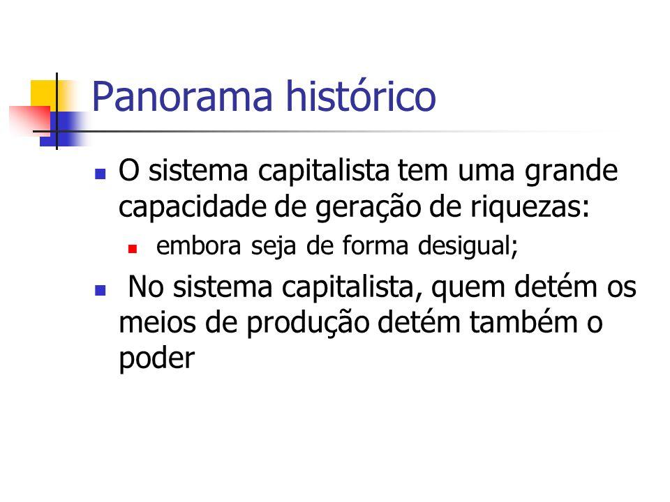 Panorama histórico O sistema capitalista tem uma grande capacidade de geração de riquezas: embora seja de forma desigual;