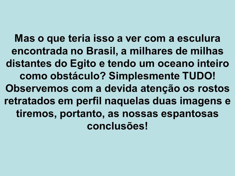 Mas o que teria isso a ver com a esculura encontrada no Brasil, a milhares de milhas distantes do Egito e tendo um oceano inteiro como obstáculo.
