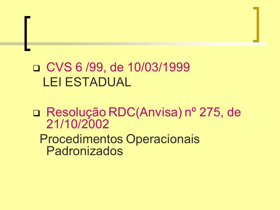 CVS 6 /99, de 10/03/1999LEI ESTADUAL.Resolução RDC(Anvisa) nº 275, de 21/10/2002.