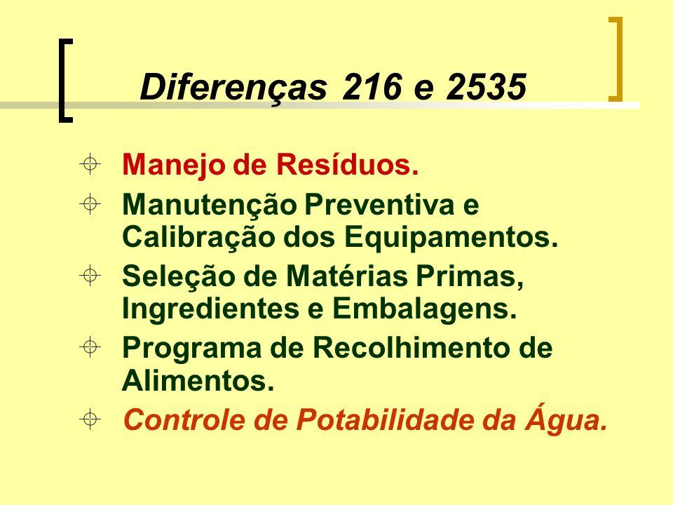 Diferenças 216 e 2535 Manejo de Resíduos.