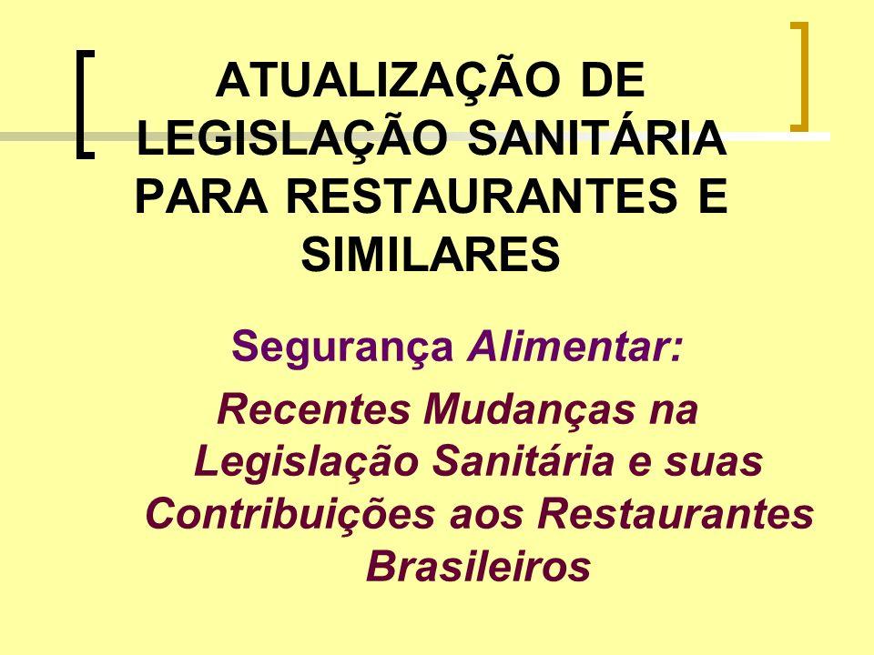 ATUALIZAÇÃO DE LEGISLAÇÃO SANITÁRIA PARA RESTAURANTES E SIMILARES